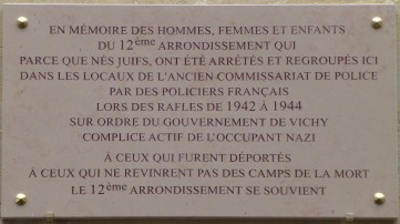 Plaque Rafles Commissariat 12e