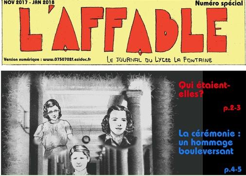 L'Affable - Journal du Lycée La Fontaine - Paris